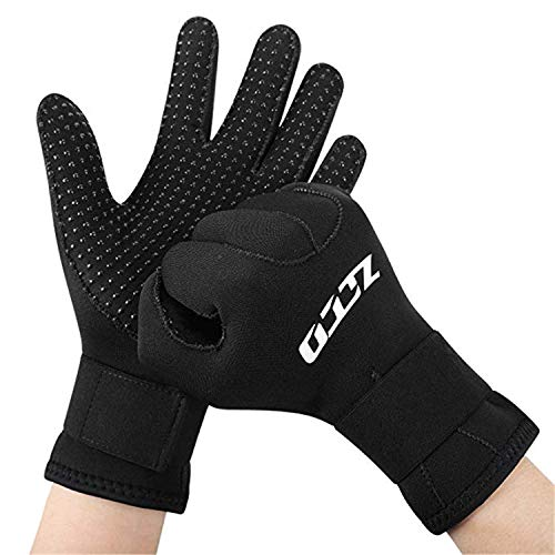 4. ZCCO Neoprene Gloves 3mm, Double-Layer Thermal Gloves, with Elastic Wrist and Skid Resistance Particles For All Water-sports