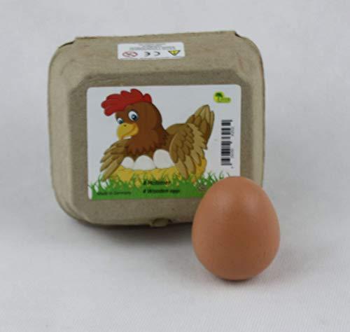 4 braune Eier aus Holz in Eierkarton, Kaufladenzubehör
