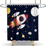 N\A Cohete en Galaxy Cortina de Ducha Espacio Exterior Exploración Tela Tela Tela Niños Baño Decoración Set con Ganchos Impermeable Lavable