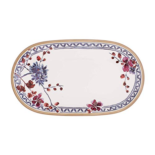 Villeroy & Boch Artesano Provençal Lavande Assiette à poisson ovale, 43 x 30 cm, Porcelaine Premium, Blanc/Multicolore