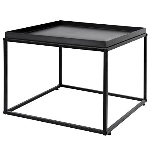MyGift 24-inch Modern Matte Black Metal Square Coffee End Table/Side Table/Nightstand