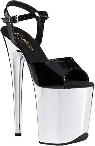 """pleaser FLAMINGO-809 - Ankle Strap Sandal with 4"""" Platform & 8"""" Heel Black/Chrome 7"""