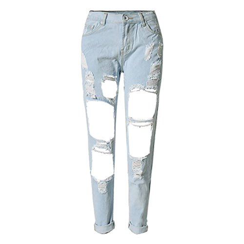 RieKet Women Distressed Boyfriend Dipped Jeans for Juniors (9(Asia 30), Light Blue)