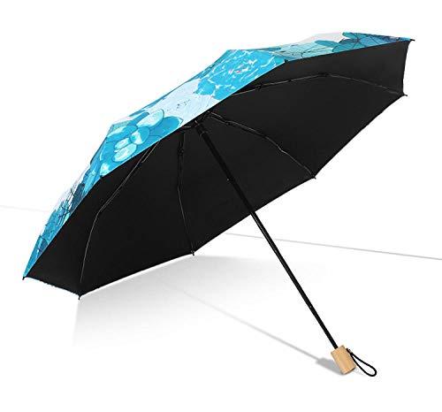 MedusaABCZeus Voll-Automatischer Taschenschirm,Vinyl Sonnenschirm, klappbarer Sonnenschirm, Vier klappbare automatische Regenschirm-grün_8 Knochen