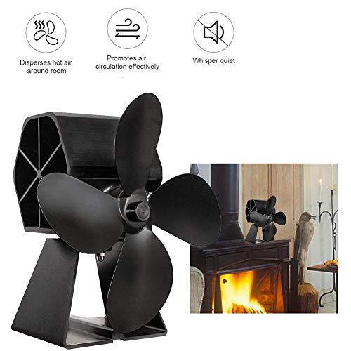 Verwarmingskachelventilator met 4 messen, milieuvriendelijke ventilator voor houtkachels, zelfvoorzienend voor houtkachels, gaskachels, pelletkachels, ventilator, houtbrander