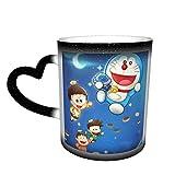 Doraemen & Friends - Tazza da caffè in ceramica, per ufficio e casa, colore: nero