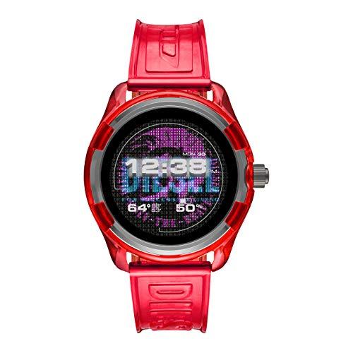 Diesel On orologio smartwatch Quail rosso 44mm alluminio silicone DZT2019