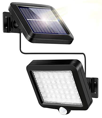 WEARXI Solarlampen für Außen - 120° Beleuchtungswinkel Solar Bewegungsmelder Aussen, 56 LED Solarleuchten mit Bewegungsmelder, IP65 wasserdichte Solarleuchten für Außen, Led Strahler mit 16.5ft Kabel