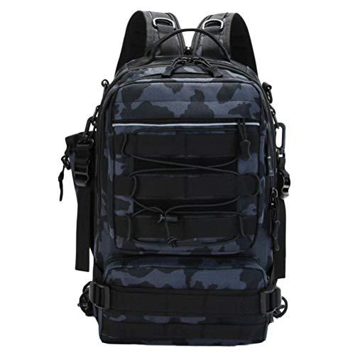 フィッシングバッグ 釣りバッグ ルアー 4way 斜め掛けバッグ バックパック 手提げ リュックサック ボディバッグ 大容量 耐摩耗性 ボルトポケット付き 多機能 アウトドア 迷彩ブラック