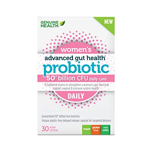Genuine Health Advanced Gut Health Daily Probiotics for Women, 50 Billion CFU, 15 Diverse Strains, Non GMO, Dairy Free, Gluten Free, Soy Free, Vegan Delayed-Release Capsules, 30 Count…