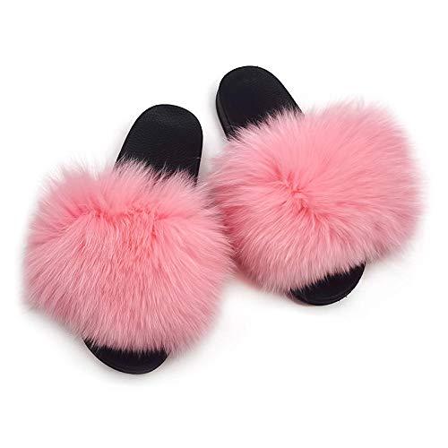 COQUI Chanclas Mujer,Zapatillas peludas, Zapatillas de Piel de Zorro, Zapatos caseros Femeninos de Cuatro Estaciones, Pelo-Rosa_42