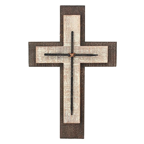 Decorative Worn White and Brown Wooden Hanging Wall Cross, Rustic Cross for Wall of Crosses, Religious Home Decor, Gift Idea for Birthdays, Easter, Christmas, Weddings, or Any Occasion (SB-6002A)