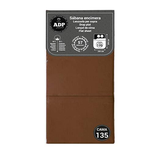 ADP Home - Sábana encimera (para Cama de 135 cm), Chocolate