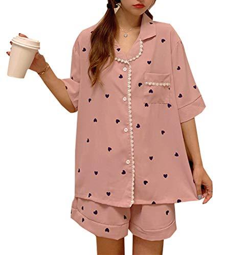 ZZWAI パジャマ レディース ダブルガーゼ ルームウェア 上下2点セット 半袖シャツ ロングパンツ ショートパンツ 部屋着 衿付き 可愛いパジャマ 通気 吸汗速乾 肌に優しい 夏 可愛い花柄 (ピンク)