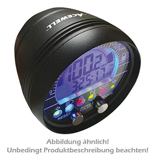 Motorrad Multi- Digitalinstrument, alu-schwarz, Aufbau-Tacho Drehzahlmesser-Uhr