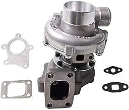 Hybrid T3/T4 T3T4 T04E Turbo .48 A/R 50 Trim 5 Bolt 300+BHP for 1.6L-2.5L & 3.2L-5.0L Engines Oil Cooled Turbocharger & Gasket