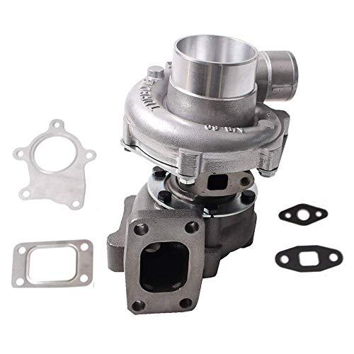 Hybrid T3/T4 T3T4 T04E Turbo .48 A/R 50 Trim 5 Bolt 300+BHP for 1.6L-2.5L Engines Oil Cooled Turbocharger & Gasket