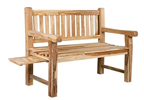 Trendy Home GmbH Banc de jardin en teck massif 2 banc en bois massif 120 cm de large avec plateau
