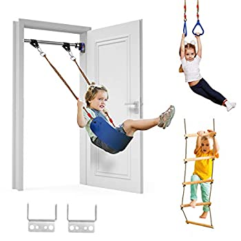 Trekassy 440lbs Indoor Playground for Kids Adults with Belt Swing Pull-up Bar Trapeze Ring Climbing Ladder