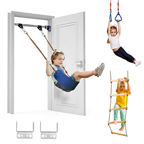 Trekassy 440lbs Indoor Playground for Kids Adults with Belt Swing, Pull-up Bar, Trapeze Ring, Climbing Ladder