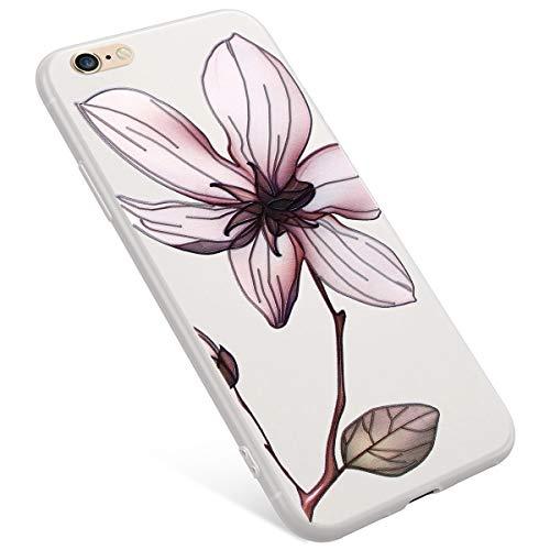 Uposao iPhone 6S Plus Coque,iPhone 6 Plus Coque Matte Etui Premium Semi Transparent Motif Rose Fleur Soft TPU Silicone Coque Anti-Choc Bumper Ultra Mince Hybrid Slim Case Coque iPhone 6/6S Plus