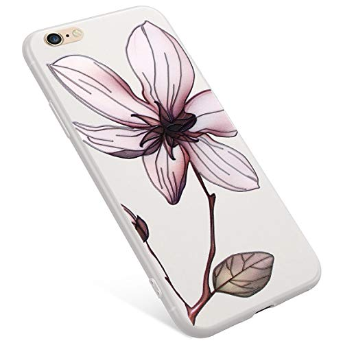Uposao iPhone 6S Plus Coque,iPhone 6 Plus Coque Matte Etui Premium Semi Transparent Motif Rose Fleur Soft TPU Silicone Coque Anti-Choc Bumper Ultra Mince Hybrid Slim Case Coque iPhone 6/6S Plus