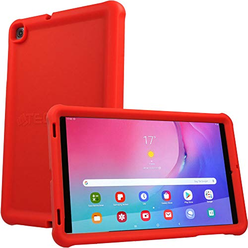 TECHGEAR Bumper Case fits New Samsung Galaxy Tab A 10.1' 2019 (SM-T510 / SM-T515) Rugged Shockproof Soft Silicone Protective Easy Grip Anti-Slip Case with Screen Film, Kids Proof Case [RED]
