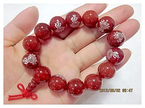 WanXingY ágata Rojo Piedras Preciosas de Piedras Preciosas del Buda 14mm / 14 Cuentas Tibetan Buddhist Oración Pulsera Dibujada a Caballo (Main Stone Color : Red, Metal Color : 14mm-14 Beads)