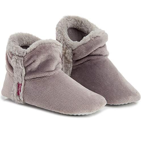 Dunlop Zapatillas De Estar En Casa Altas para Mujer, Botas Pantuflas Cerradas Invierno, Interior Suave Peluche con Suela de Goma Antideslizante, Mujer (39 EU, Gris Claro)