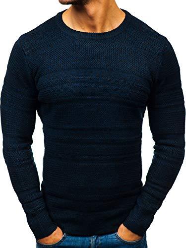 BOLF Herren Pullover Pulli Basic Einfarbig Casual Style HOT RED H1805 Dunkelblau M [5E5]