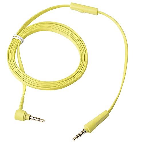 Aiivioll Cable plano de repuesto para auriculares compatible con Sony MDR-1000X MDR-100ABN WH-1000XM2 WH-1000xm3 WH-H900N WH-H800 WH-CH700N MDR-100AAP MDR-100A (amarillo/1,5 m)