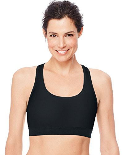 Hanes Sport Women#039s Compression Racerback Sports BraBlackLarge