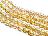 35 perlas de agua dulce, perlas cultivadas de 6 mm, color amarillo, grano de arroz natural, ovalado, barroco, piedras preciosas, piedras preciosas, para enhebrar, perlas de agua fresca