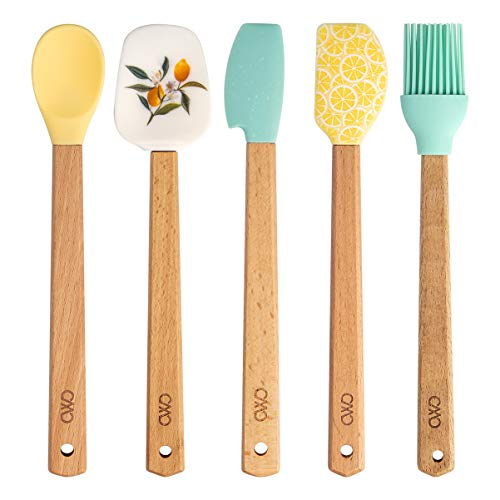 Cook With Color Set of Five MINI Kitchen Utensil Set - Silicone Kitchen Tools with Wooden Handles, Brush, Spoonula, Spatula, Spoon, Scraper (Lemon Collection)