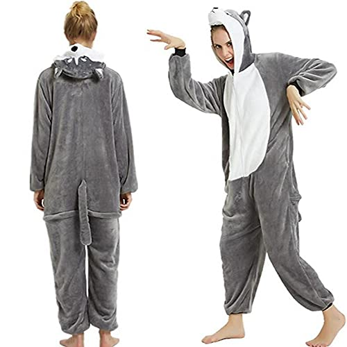 LKHJ Pijamas Enteros Pijama de Franela Gris 3D para Adultos, Mono con Capucha, Perro, Dibujos Animados, Animal, Disfraz de Fiesta de Halloween-Gris_S