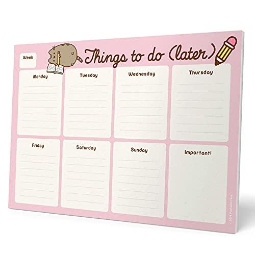 Erik - Planning da Tavolo Pusheen Rose Collection, Con Planner Settimanale e 54 Fogli a Strappo, Agenda Appuntamenti