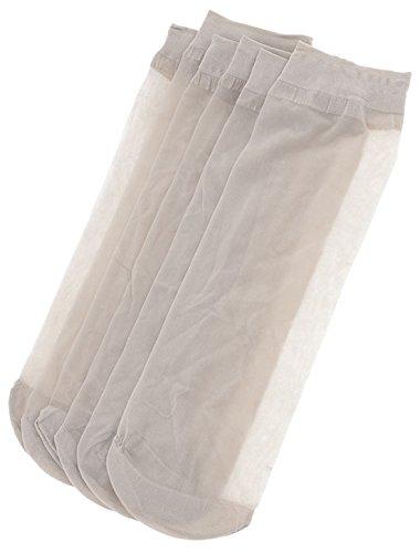 sourcingmap 3 Paar Damen transparent Polyester elastisch Knöchelsocke Kurzsocke Socke beige