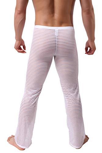 KAMUON Men's Summer Sexy Mesh See Thru Stretchy Lightweight Sleep Lounge Pants (US L = Asian Tag XL : Waist 35'-37', White)