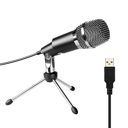 XJJZS Micrófono USB,Plug&Play Micrófono Condensador para PC/computadora Podcasting One Line Meeting SudoriorCording