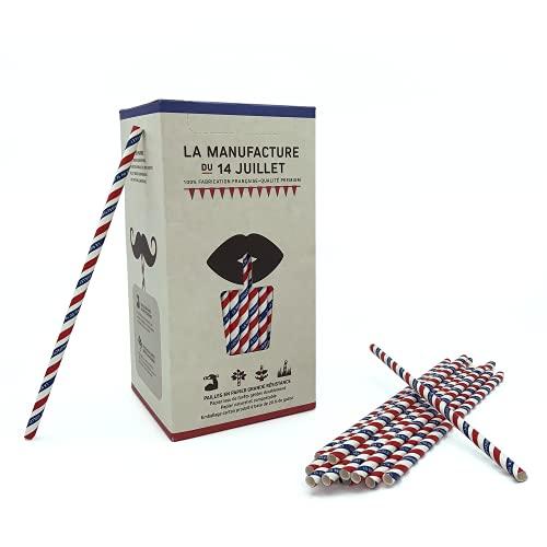 La Manufacture – 250 pajitas de papel, 250 pajitas tricolor para beber biodegradables | Adecuado para bebidas frías y calientes – Resiste al alcohol – Para cócteles y zumo | Fabricado en Francia