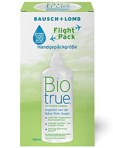 Bausch & Lomb Biotrue Kombilösung - Kontaktlinsenreiniger und Aufbewahrungslösung für weiche Kontaktlinsen Reise-Set, Flight Pack, 100 ml
