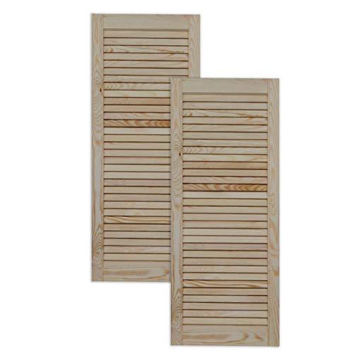 Lamellentür Holztür natur 99,3 x 39,4 cm mit offenen Lamellen für Regale, Schränke, Möbel   Kiefer Holz unbehandelt   Doppel-Paket 2-er Pack