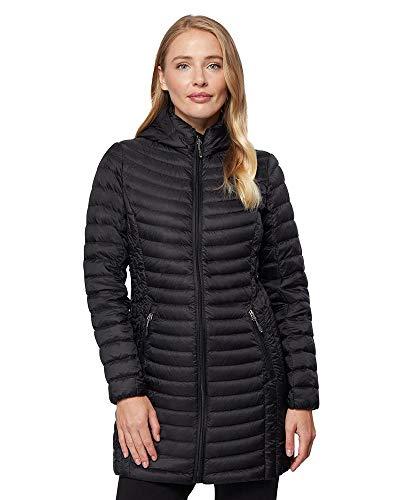 32 Degrees Women's Ultra-Light Packable Down 3/4 Long Puffer Jacket, Black, X-Small