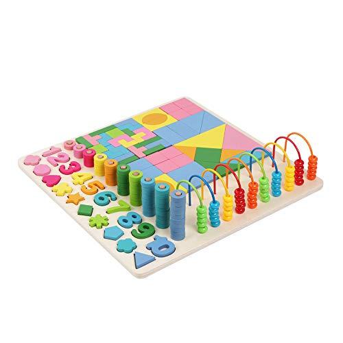 JOKFEICE Rompecabezas de números de Madera 3 en 1 Clasificación Montessori Toys Count Ordenar Torre de apilamiento Número Forma Bloques matemáticos Juguete Educativo temprano para niños pequeños