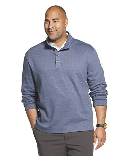 Van Heusen Men's Tall Long Sleeve Never Tuck Jaspe Button Mock Pullover, Blue Barge Solid, 3X-Large Big