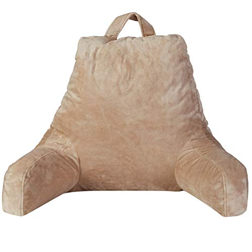 Cheer Collection Backrest Reading Pillow - Plush Fiber Filled TV and Gaming Pillow with Armrest, Taupe
