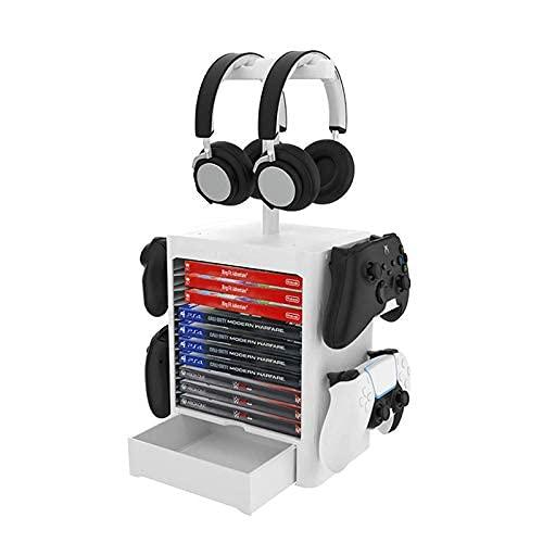jiuayo PS5 Juego Storage, Torre de juegos para PS5, estante de disco de juegos y controlador/soporte para auriculares compatible con Xbox Series X/Nintendo Switch/PS4/PS5, color blanco, blanco,