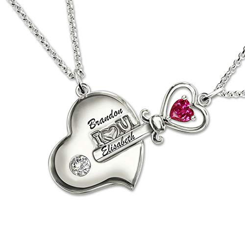 Getname Necklace Personalized Key to My Heart Couple Pendants Set Birthstone Engraved Necklace Sterling Silver 925 Valentine's Day Gifts