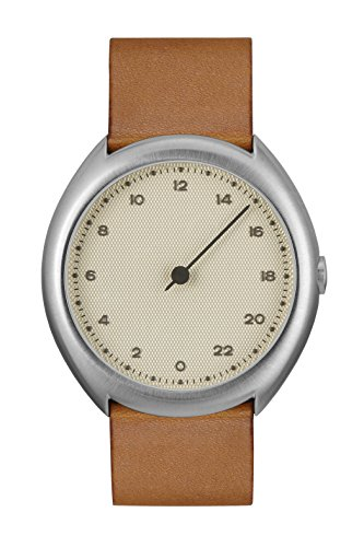 slow O 07 - Swiss Made one-hand 24 hour watch - Silver with brown leather band