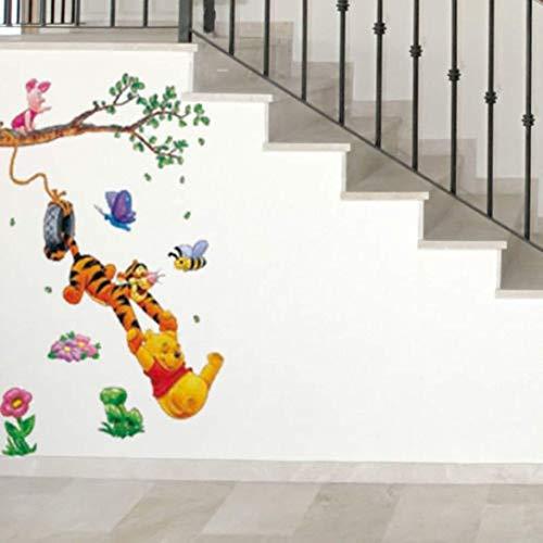 Zuolanyoulan Winnie The Pooh patroon wandsticker kinderen slaapkamer wandtattoos woonkamer raamglas decoratieve verwijderbare muursticker ruimte decor muur sticker